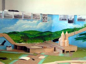 Hintergrundkulisse mit Freyburg im Bau